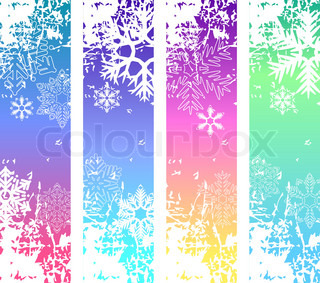 Four abstract vertical winter banners with white snowflakes