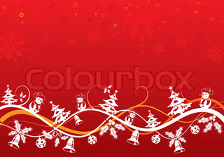 Christmas background with tree and snowman, element for design, vector illustration