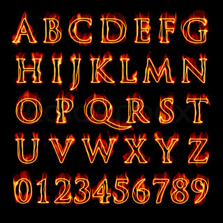 A set of fiery flaming letters and numbers isolated over black