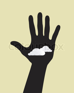 Hand with clouds cartoon background
