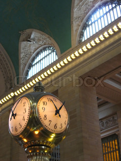The old clock in the center of grand central station in New York City