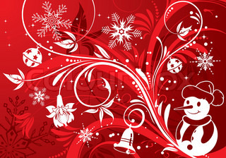 Floral background with snowman, element for design, vector illustration