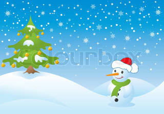 Christmas background with tree and snowman, vector illustration