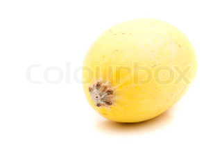 A single golden yellow spaghetti squash isolated over a white background