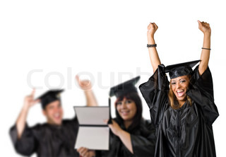 A group of high school or college graduates cheering happily on graduation day