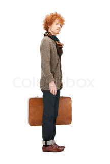 bright picture of handsome man with suitcase
