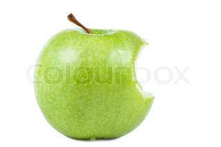 Green apple without a bit isolated over white background