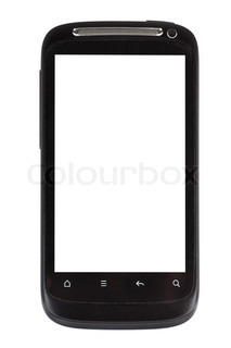 New smartphone with large touch screen over white background
