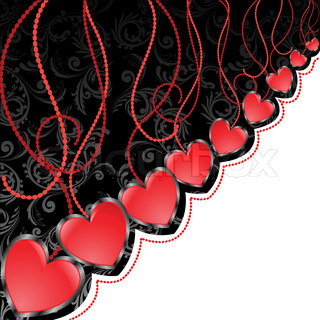 glossy red hearts hanging diagonal on black and white background