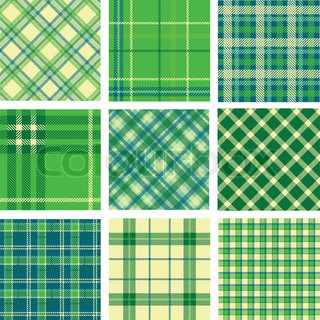 9 plaid patterns set vector colourbox for Irish mail cart plans