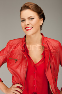 bright picture of lovely woman in red leather jacket