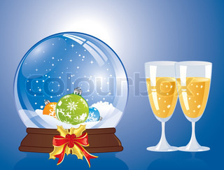 Christmas Background with snow globe and glass, element for design, vector illustration