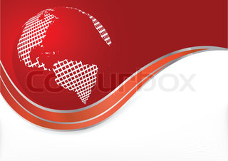 Vector red background with globe