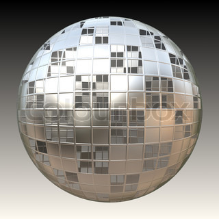 A chrome sphere covered in square shapes over its frame