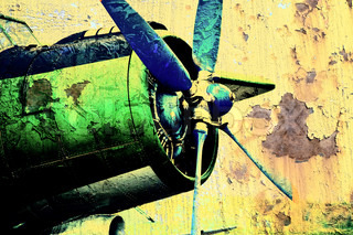 Grunge picture of an old airplane with propeller