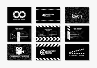 Vector set of creative business cards cards for movie film maker vector set of creative business cards movie clap pattern colourmoves