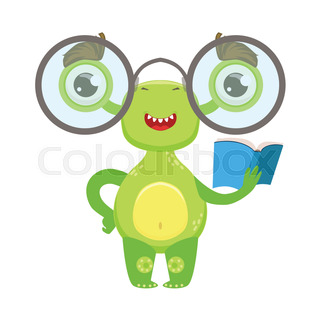 Clever Funny Monster With Glasses And Stock Vector Colourbox