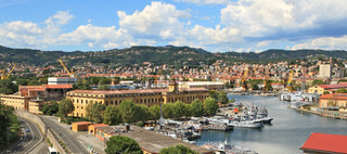 Panoramic view on city of La Spezia and military naval base in Italy