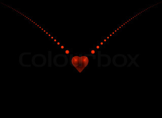 A fractal heart shape background with lots of copy space
