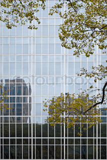 A closeup of a building in the city with reflective glass windows