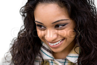 A closeup of a pretty Indian woman from a high angleShallow depth of field with strong focus on the eyes and mouth