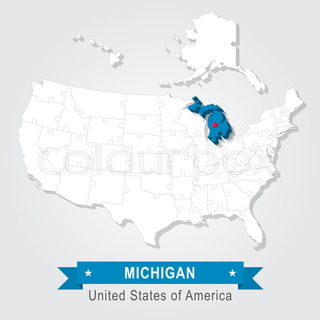 Michigan State Marked On White Usa Map