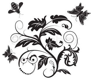 Abstract flower with bee and butterfly, element for design, vector illustration
