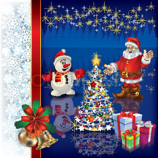 Abstract Christmas blue background with Santa tree and gifts