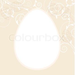 Light easter greeting card with egg frame and flourishes