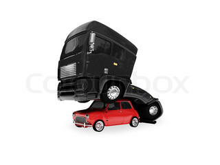 big black car and small red car have a sex on a white background