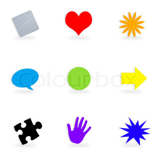 A collection of icons or button symbols of different shapes and colors isolated over a white background