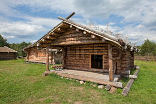 Ancient traditional russian wooden  house