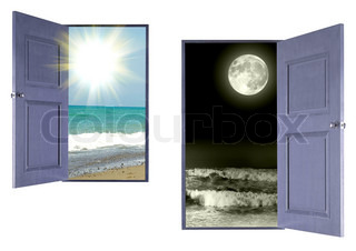 Sea landscape day and night looked through through open doors