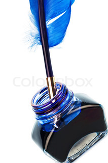 A blue pen with an ink bottle on white background