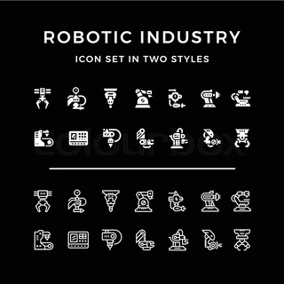 Set icons of robotic industry
