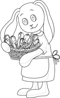 Vector cartoon, rabbit girl with basket of flowers, contours