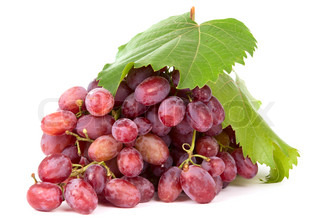 pink grapes on a white background