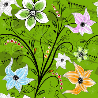 Seamless green floral wallpaper with colorful flowers and curls (vector)