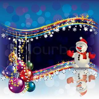 Abstract Christmas background with decorations and Snowman