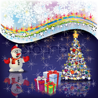 Abstract Christmas greeting with snowman and tree