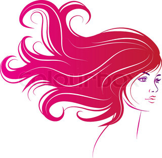 kvinde ansigt med lange dekorative sort hår