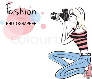 Schönheit Modefotograf Mädchen Stil Vektor-Illustration