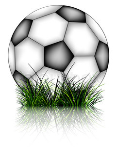 soccer ball and grass reflected against white background abstract art illustration
