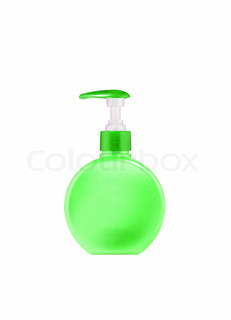 green plastic spoon bottle isolated on white