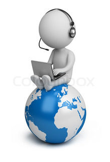 3d small person sitting on planet Earth with a laptop and headphones