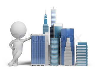 3d small person standing next to skyscrapers