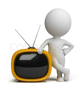 3d small person standing next to a yellow retro TV
