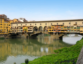 View of famous bridge Ponte Vecchio on Arno river in Florence Firenze Tuscany Italy