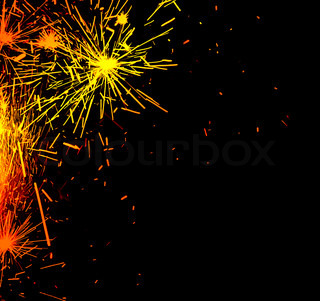 Bright border of firework sparks isolated on black background, decorative abstract holiday lights, christmas and new year fun