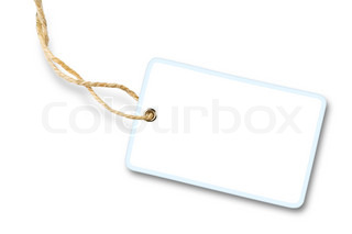 Blank white gift label with cotton string isolated on white background with shadow